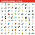 100 marketing icons set, isometric 3d style
