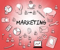 Marketing icons shows symbols selling and promotion indicating e media promotions Royalty Free Stock Images