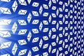 Marketing illustration Email on a blue background. Seamless email icons, pattern. Letters, mail, post background for design, Royalty Free Stock Photo