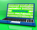 Marketing laptop shows web emarketing and sales online showing Royalty Free Stock Image