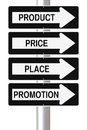 Marketing principles modified one way street signs on the p s of Royalty Free Stock Images