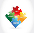 Marketing puzzle pieces illustration design over a white background Royalty Free Stock Photo