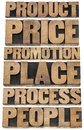 Marketing strategy concept p of marketing product price promotion place process people collage of isolated words in vintage Royalty Free Stock Photos