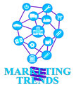 Marketing trends shows e marketing e commerce and seo representing promotions media tendency Stock Photography