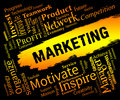 Marketing words indicates sem e marketing and promotion representing promotions sales commerce Royalty Free Stock Photography