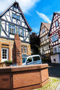 Marketplace with city fountain in Ortenberg, Germany Royalty Free Stock Photo