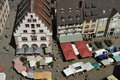 Marketplace of freiburg germany south west seen from the minsters tower Royalty Free Stock Photos