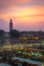 Marketplace of marrakech jemaa el fna square at sunset in marrakesh morocco this square is part the unesco world heritage Royalty Free Stock Photo