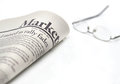 Markets newspaper with copyspace on white background shallow depth of field Royalty Free Stock Photos