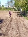 Marking furrows woman gardener work with homemade furrow marker Stock Photos