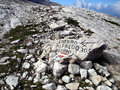 Marking the path Alfredo Benini in the Brenta Dolomites mountain Royalty Free Stock Photo