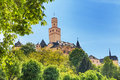 Marksburg castle in germany on the hill europe sunny day among trees view from bellow Royalty Free Stock Photo