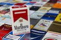Marlboro pack on many different cigarettes photographed on March 25, 2017 in Prague, Czech republic.