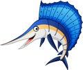 Marlin fish cartoon Royalty Free Stock Photo