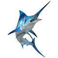 Marlin fish on white the blue is a popular big game for fishermen and inhabits oceans throughout the world Royalty Free Stock Images