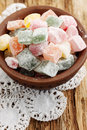 Marmalade in a bowl delicious dessert turkish delight on the old board Stock Photo
