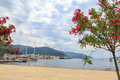 Marmaris city center and port from marmaris beach Royalty Free Stock Photo