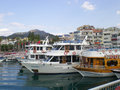 Marmaris harbor many tourist boats at the of turkey Royalty Free Stock Photos