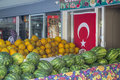 MARMARIS, TURKEY - June 10, 2017: ripe watermelons and melons on the shelves of Turkish markets