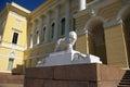 Marmurowy lew przy Rosyjskim muzeum sztuka piękna. Zdjęcia Stock
