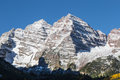 Maroon bells aspen colorado in fall an early snow coats scenic near Stock Photos