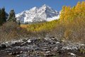 Maroon bells and creek close view of the famous peak ft north peak ft in autumn taken right after a quick Royalty Free Stock Photos