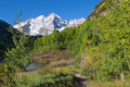 Maroon bells in early fall an snow coats scenic near aspen colorado Royalty Free Stock Image