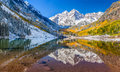 Maroon bells national park in falls aspen co panorama view of Stock Photos