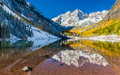 Maroon bells national park in falls aspen co panorama view of colorado Stock Image