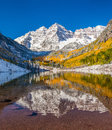 Maroon bells national park in falls after early snow storm Royalty Free Stock Photography