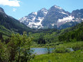 The maroon bells peaks located in rocky mountains in wilderness area near aspen colorado Stock Images