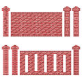 Maroon brick wall patterns illustration of a few of walls and its columns pillars the bricks are shades of red and brown the image Royalty Free Stock Images