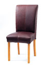 Maroon leather chair a with wooden legs against isolated white background Stock Photos