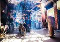 Marrakech street busy traditional in the medina of with locals and tourists morocco Royalty Free Stock Photography
