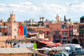 Marrakesh morocco jan view on with in the back the atlas mountains on january in with a population of Royalty Free Stock Photo
