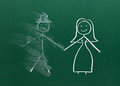 Marriage couple drawing on chalk board divorce break up smudged Royalty Free Stock Image