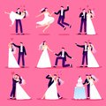 Marriage couple. Just married couples, wedding dancing and weddings celebration. Newlywed bride and groom vector