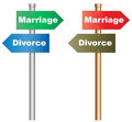 Marriage or divorce illustration of a conceptual signboard about a tough decision about and eps vector Royalty Free Stock Photography