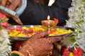 Marriage formality formalities in indian culture pooja arti Stock Photos