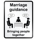 Marriage guidance information sign monochrome comical public isolated on white background Royalty Free Stock Image