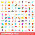 100 marriage icons set, cartoon style