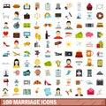 100 marriage icons set, flat style