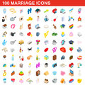 100 marriage icons set, isometric 3d style