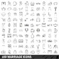 100 marriage icons set, outline style