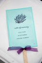 Marriage order of ceremony booklet with decorative ribbon Stock Photo