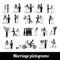 Marriage pictograms over white background vector illustration Royalty Free Stock Photo