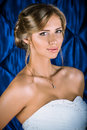 Marriage portrait of a beautiful charming bride in a luxurious dress Stock Photos