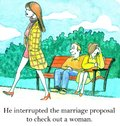 Marriage proposal he interrupted the to check out a woman Royalty Free Stock Photo