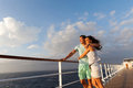 Married couple cruise deck loving standing on enjoying sunset together Royalty Free Stock Photos