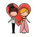 Married couple with heart avatars characters